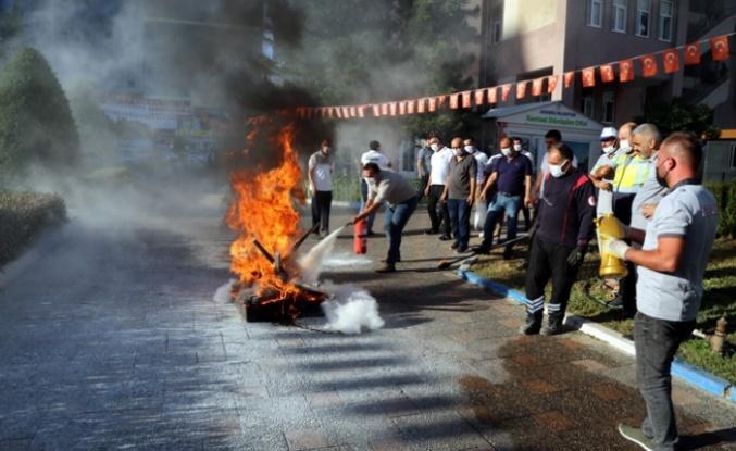 Akdeniz Belediyesi'nde Yangın Tatbikatı
